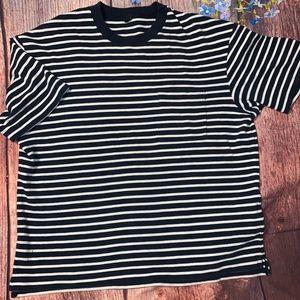Uniqlo Waffle knit Striped Crew Neck T-shirt Large
